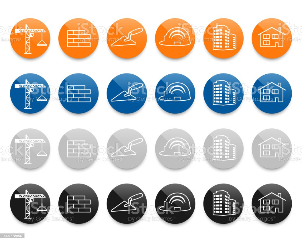 Construction and real estate line vector icons set vector art illustration