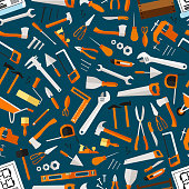 Construction and repair tools seamless wallpaper