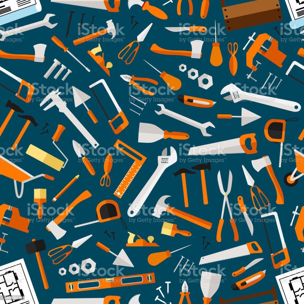 Construction and repair tools seamless wallpaper vector art illustration
