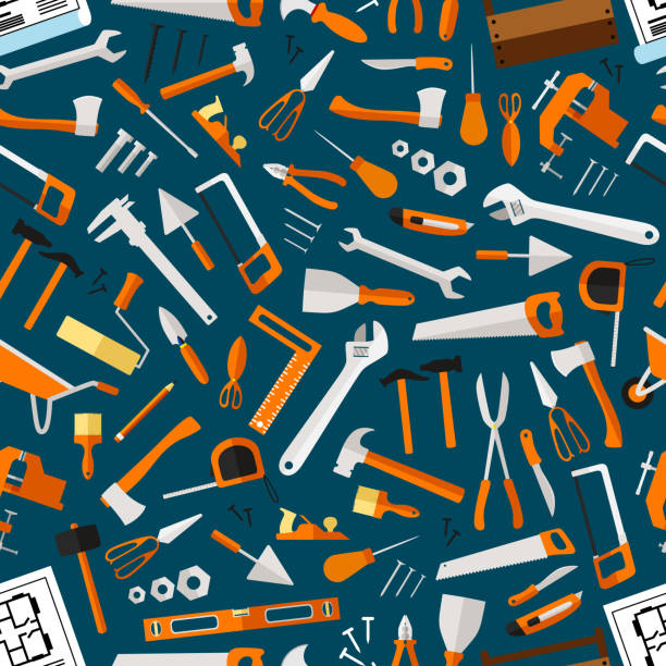 Construction and repair tools seamless wallpaper Construction and repair tools seamless pattern wallpaper. Carpentry flat icons background. Carpenter and builder working elements. Vector hammer, axe, ruler, hatchet, saw, screw driver, ruler, knife gardening equipment stock illustrations