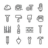 Construction and Tools Icons - Line Series