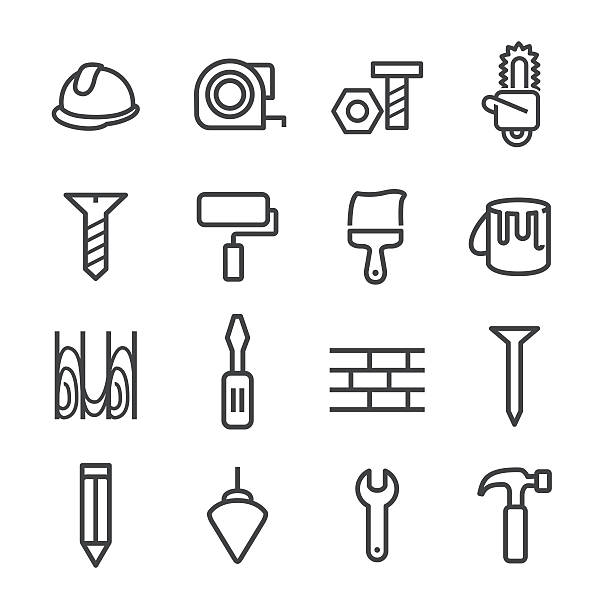 Construction and Tools Icons - Line Series View All: paint can stock illustrations
