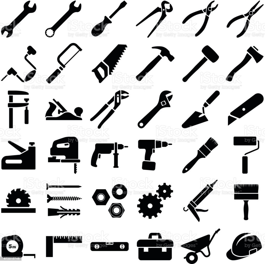 Construction and work tool vector art illustration