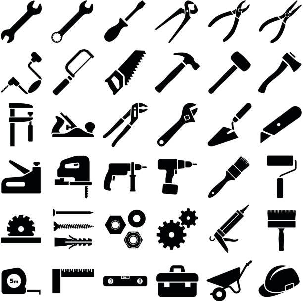 Construction and work tool Construction tool icon collection - vector illustration drill stock illustrations