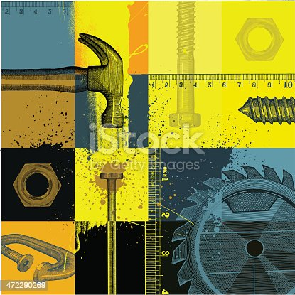 Construction Themed Abstract Background - vector illustration