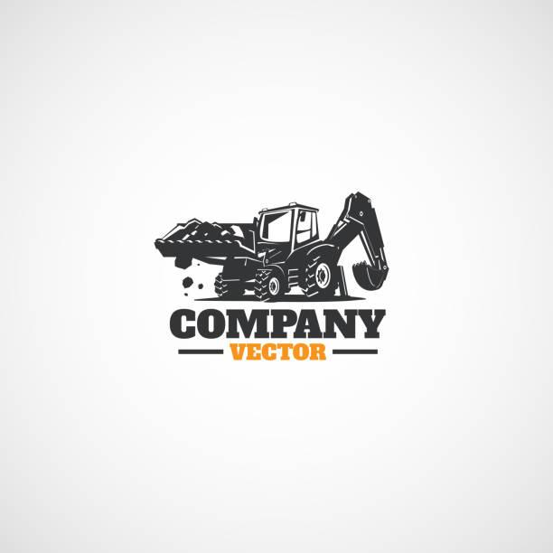 bau baggerlader traktor. - bagger stock-grafiken, -clipart, -cartoons und -symbole