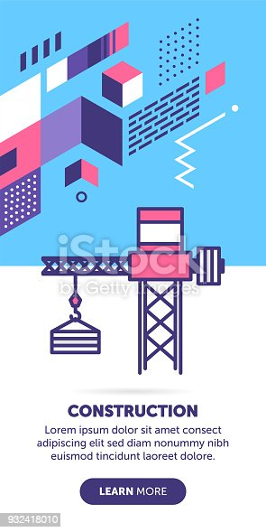 Construction and building vector banner illustration also contains an icon for the topic.