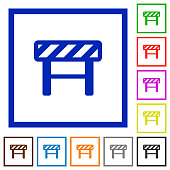 Construction barrier flat color icons in square frames on white background