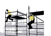 Silhouette vector illustration  of construction workers on scaffolding