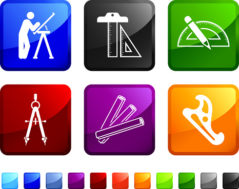 Construction Blueprint Equipment royalty free vector icon set stickers