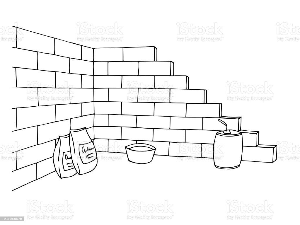 Construction brick wall building graphic art black white illustration vector vector art illustration