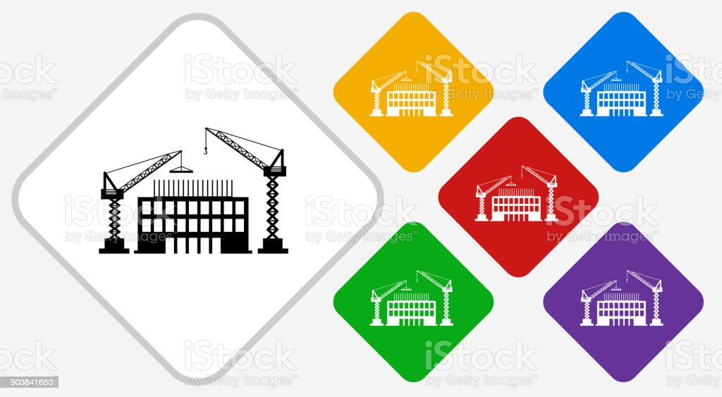 Ilustración de Construcción Edificio Color Diamante Vector Icono y ...