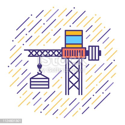 Flat line vector icon illustration of construction & building with abstract background.