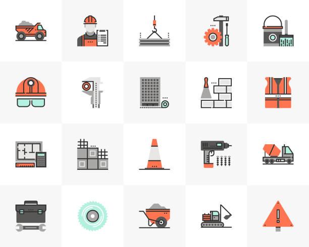Construction Building Futuro Next Icons Pack vector art illustration