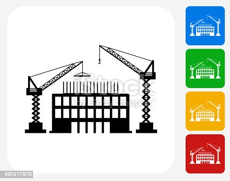 Construction Building Icon. This 100% royalty free vector illustration features the main icon pictured in black inside a white square. The alternative color options in blue, green, yellow and red are on the right of the icon and are arranged in a vertical column.
