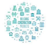 Construction and building products outline style symbols on modern gradient background. Line vector icons for infographics, mobile and web designs.