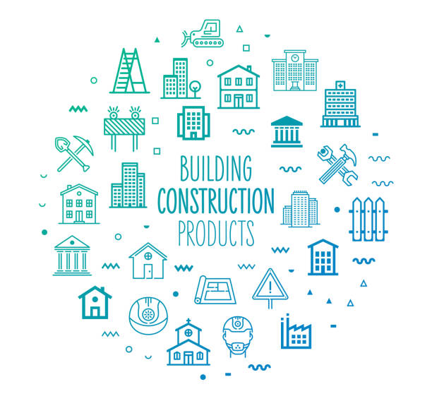 construction & building products outline style infographic design - mieszkanie komunalne stock illustrations
