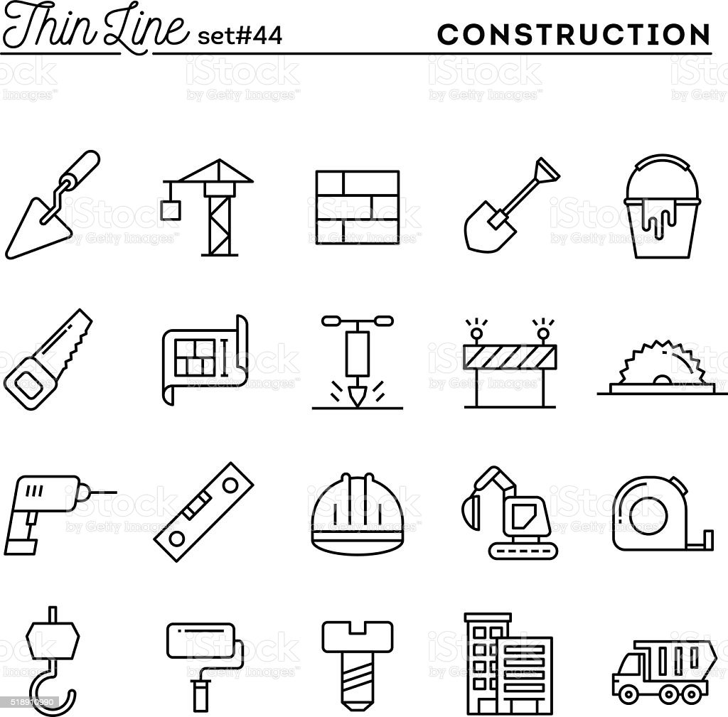 Construction, building, project, tools and more, thin line icons set vector art illustration