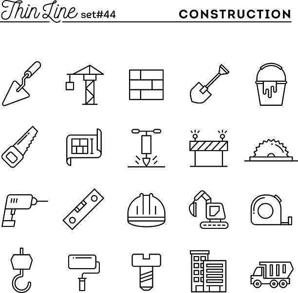 stockillustraties, clipart, cartoons en iconen met construction, building, project, tools and more, thin line icons set - shovel