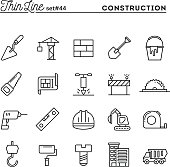 Construction, building, project, tools and more, thin line icons set