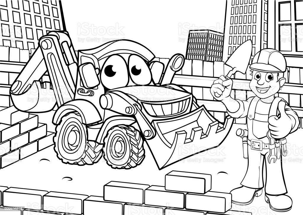 Ilustración de Construcción Sitio Escena Para Colorear y más banco ...