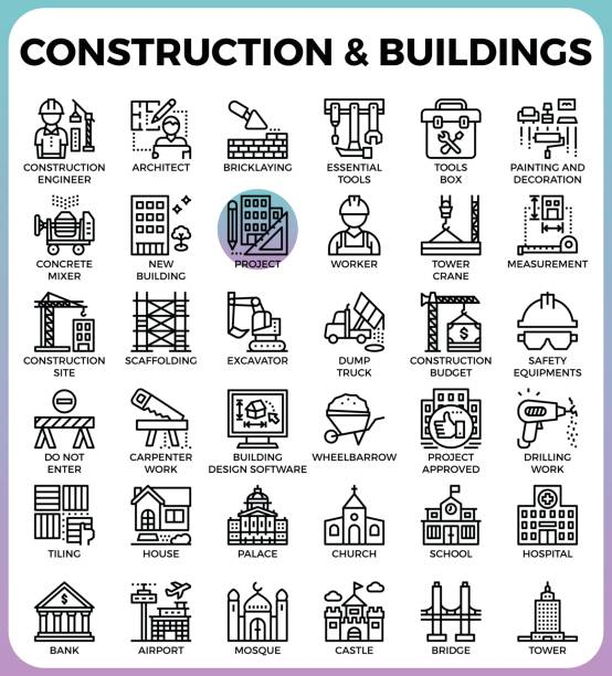 Construction & Buildings icons vector art illustration