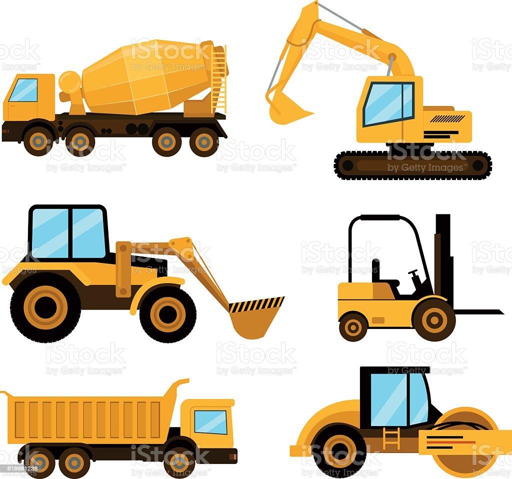 Construction cars icon set. Vector flat cartoon illustration vector art illustration