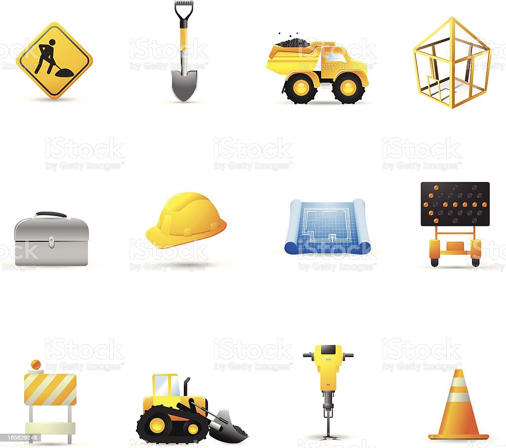 Construction cartoon vector icons royalty-free construction cartoon vector icons stock vector art & more images of a-frame sign