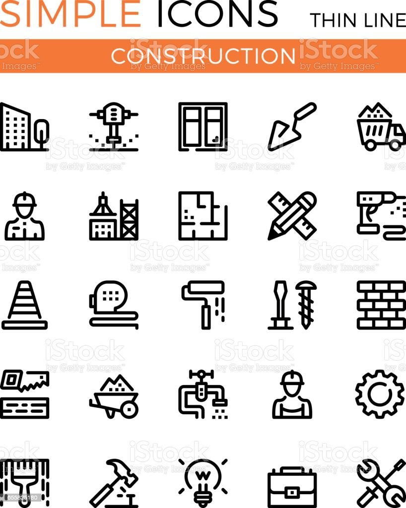 Construction, civil engineering, building vector thin line icons set. 32x32 px. Modern line graphic design concepts for websites, web design, etc. Pixel perfect vector outline icons set vector art illustration