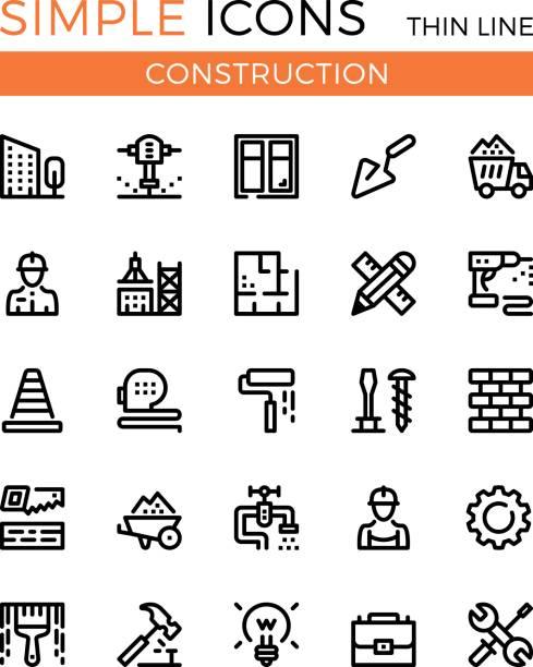 Construction, civil engineering, building vector thin line icons set. 32x32 px. Modern line graphic design concepts for websites, web design, etc. Pixel perfect vector outline icons set vector art illustration