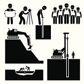 Construction Civil Engineering Earthworks Worker Pictogram Icon Cliparts