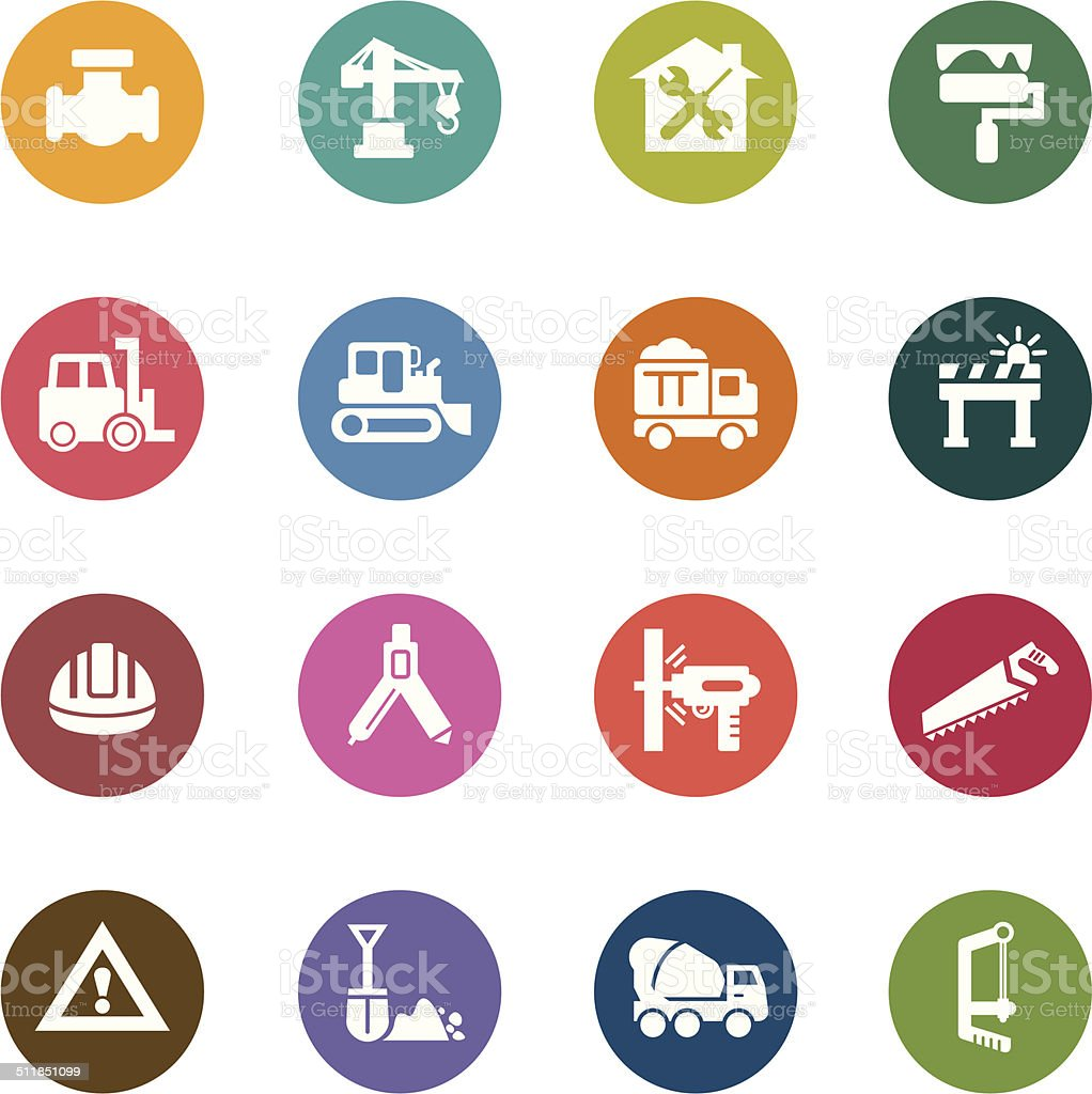 Construction Color Icons vector art illustration
