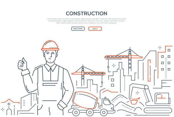 illustrations, cliparts, dessins animés et icônes de construction - bannière colorée ligne design style - chantier