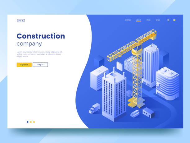 construction company landing page template. isometric illustration of construction of the city. tower crane and high-rise buildings. modern web page interface design. vector eps 10 - mieszkanie komunalne stock illustrations