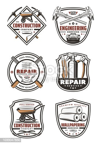 Construction company vintage symbol for house repair, engineering and wallpapering service design. Work tool retro shield badge with trowel, wheelbarrow and pliers, tape measure, roller and wallpaper