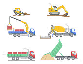 Construction Concept. Set Of Different Construction Truks And Equipment For Differend Work. Construction Machinery Operator Jobs. Characters At Work. Cartoon Linear Outline Flat Vector Illustration.