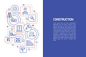 Construction Concept, Vector Illustration of Construction with Icons