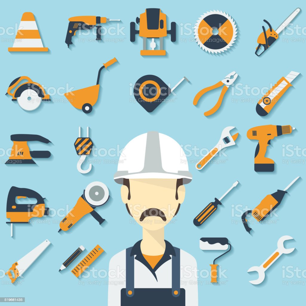 Construction concept with flat icons and builder. Vector illustration vector art illustration
