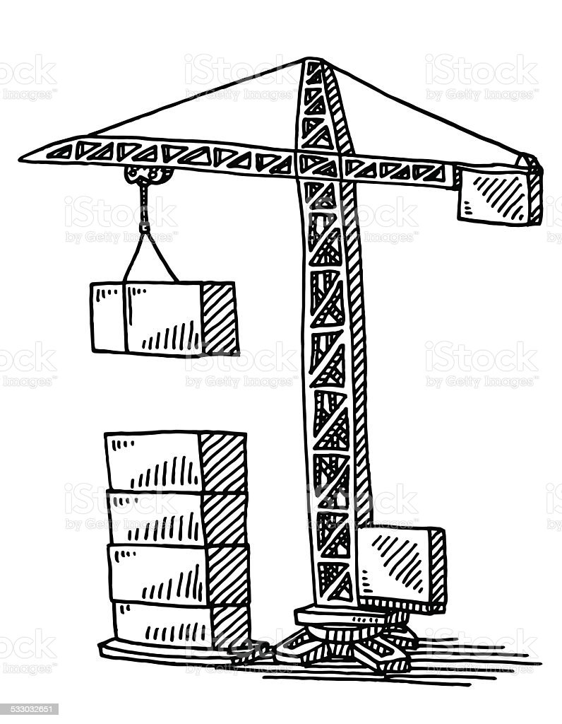 Construction crane building blocks drawing stock vector - Dessin de grue ...