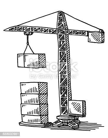 Construction crane building blocks drawing stock vector art 533032651 istock - Coloriage de grue de chantier ...