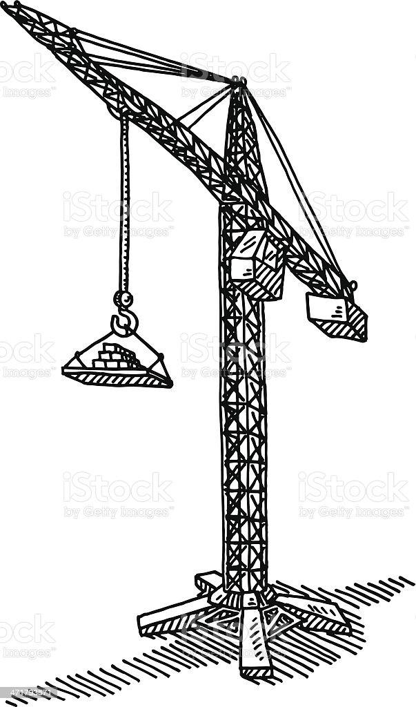 Construction crane drawing stock vector art 471793571 istock - Dessin de grue ...