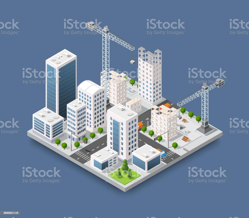 Construction crane heavy vector art illustration