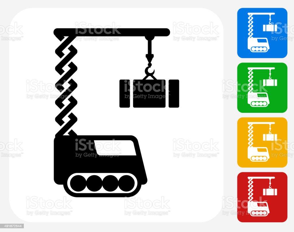 Construction Crane Icon Flat Graphic Design Stock Illustration - Download  Image Now