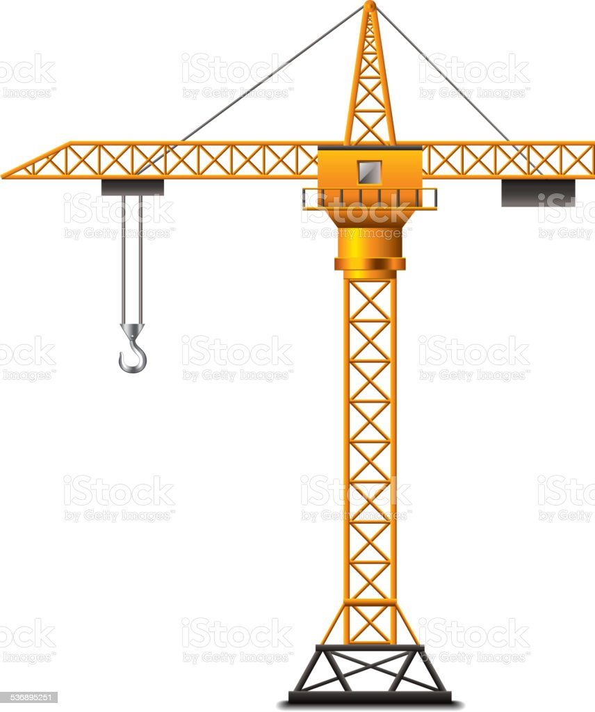Construction crane isolated on white vector vector art illustration