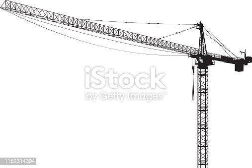 Vector silhouette of a construction crane.