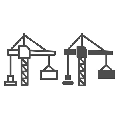 Construction crane with a container line and solid icon, hoisting machines concept, harbor lifter sign on white background, lifting crane icon in outline style for mobile concept. Vector graphics.