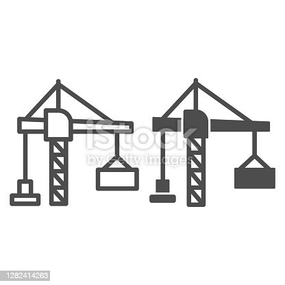 istock Construction crane with a container line and solid icon, hoisting machines concept, harbor lifter sign on white background, lifting crane icon in outline style for mobile concept. Vector graphics. 1282414263