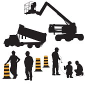 A vector silhouette illustration of construction workers and equipment including a boom lift, dumptruck, pylons, and construction men both working and standing.