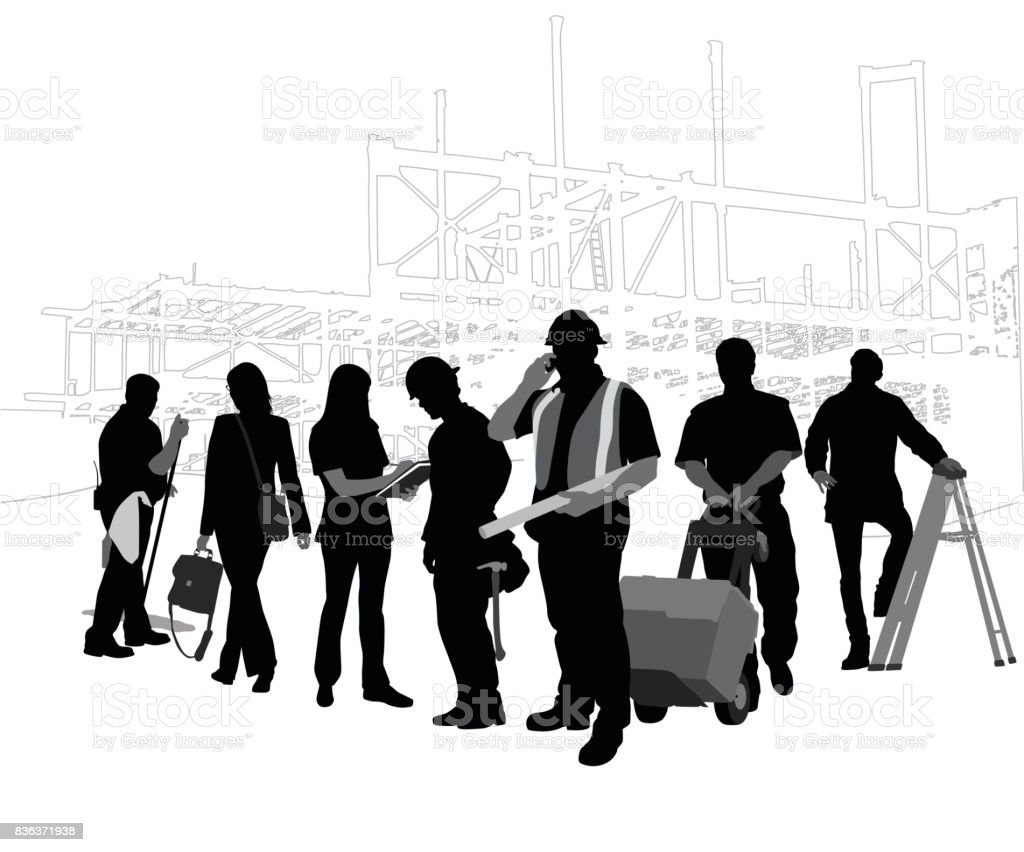 Construction Crew vector art illustration