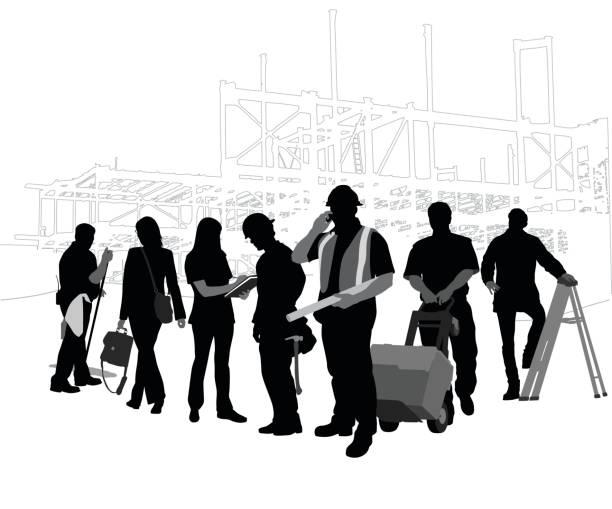 ilustraciones, imágenes clip art, dibujos animados e iconos de stock de equipo de construcción - obrero de la construcción